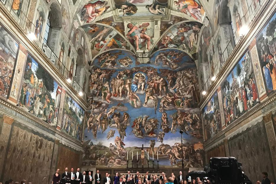 The orchestra and choir at the end of their performance of 'Stabat Mater' by Sir James MacMillan, Sistine Chapel, April 22, 2018.