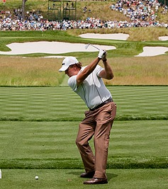 Phil Mickelson practices yesterday for the U.S. Open