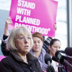 U.S. Sen. Patty Murray (D-WA) speaks during a press conference at a Planned Parenthood Clinic Feb. 3, in Seattle. Murray commended the Susan G. Komen Foundation's reversal of a decision to not fund breast exams at Planned Parenthood.