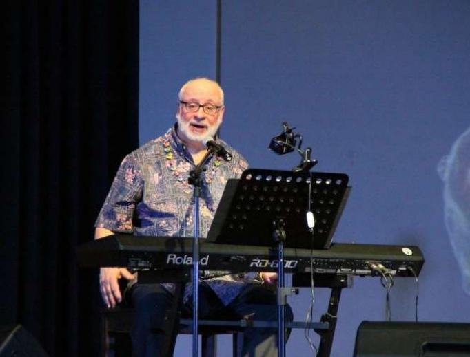 David Haas in a concert at the Ateneo de Manila University, Quezon City, Philippines.