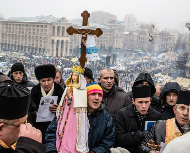 Anti-government protesters hold a religious service Dec. 13 on a hill overlooking Independence Square in Kiev, Ukraine.