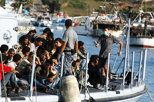 Refugees arriving in Lampedusa, Italy.