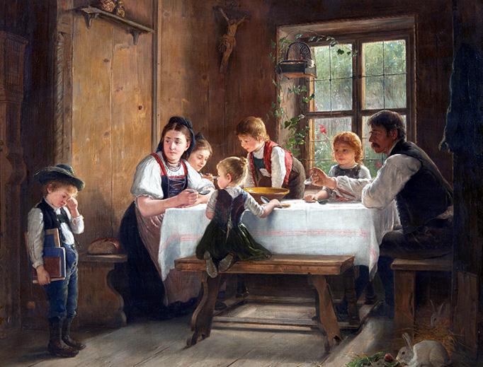 """August Heyn (1837-1920), """"Weinender Junge beim Mittagsmahl in der Bauernstube"""""""