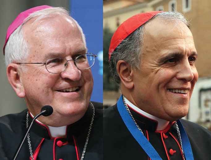 TOP SPOT. Archbishop Joseph Kurtz of Kentucky, left, is the outgoing president of the U.S. bishops' conference. Cardinal Daniel DiNardo of Galveston-Houston, shown at right, is the likely candidate for the post.