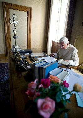 Pope Benedict at work at Castel Gandolfo.