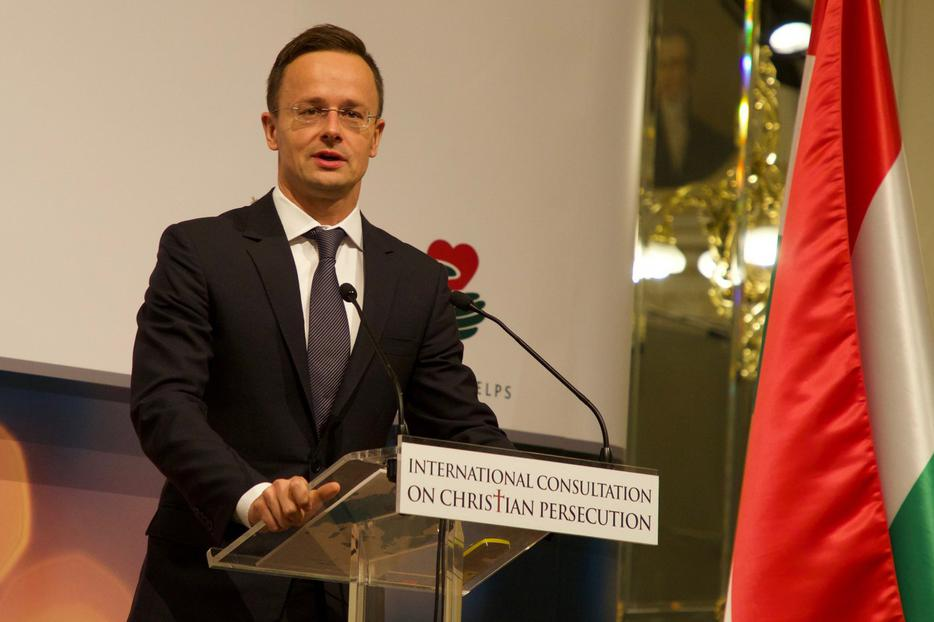 Hungary's foreign minister, Péter Szijjártó, addresses a conference on persecuted Christians in Budapest in October 2017.