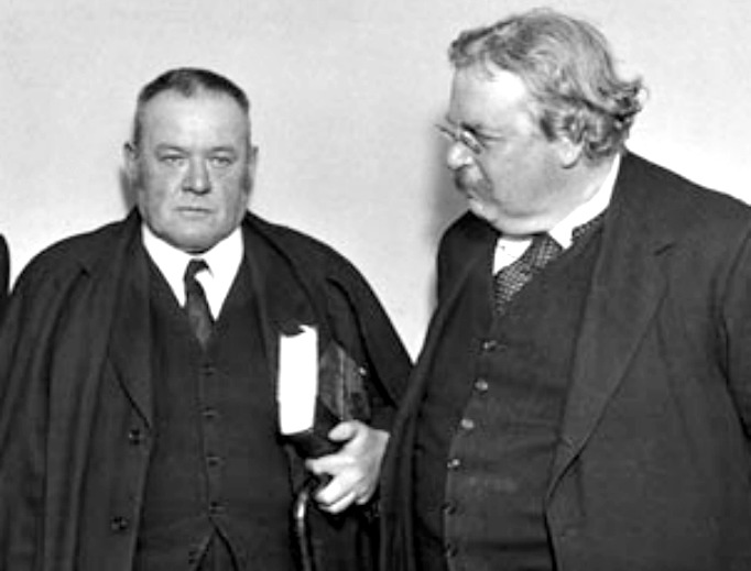 Good friends Hilaire Belloc (l) and G.K. Chesterton (r). Belloc wrote the introductory note to Chesterton's 1927 book  The Catholic Church and Conversion. Belloc's mother was a convert, and Chesterton became Catholic at age 48.