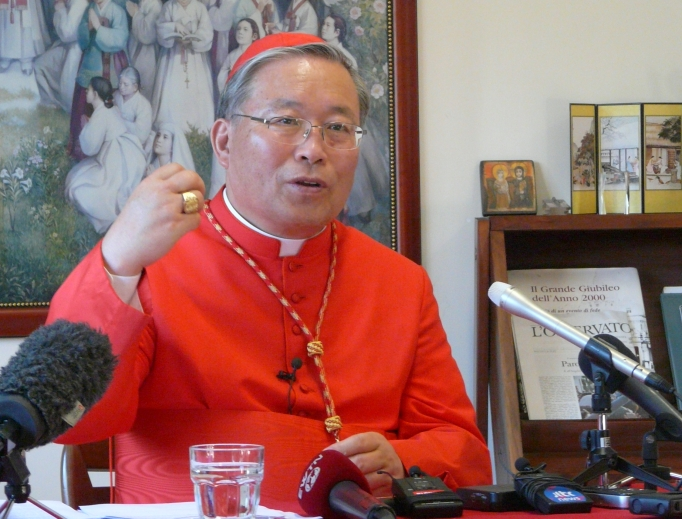 Cardinal Andrew Yeom Soo-jung of Seoul speaks at a press conference Feb. 25, 2014.