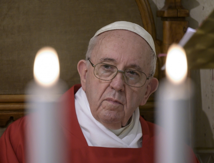 Pope Francis during Mass on the Worldwide Day of Prayer, May 14, 2020.