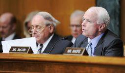U..S. Senator Carl Levin (D-MI) (L), the committee chairman, and ranking member Senator John McCain (R-AZ) hold a Senate Armed Services Committee hearing on Capitol Hill in Washington June 17, 2010.