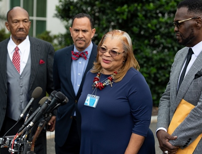 Alveda King, niece of Martin Luther King Jr., shown speaking following a meeting with U.S. President Donald Trump and other faith-based inner-city leaders at the White House in Washington on July 29, 2019, said, 'Let's love one another' in the aftermath of the killing of George Floyd.