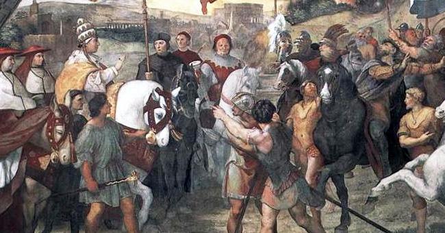 "Raphael's ""The Meeting between Leo the Great"" (1514)"