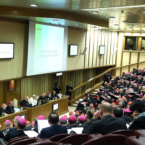 Participants in the Extraordinary Synod of Bishops on the Family listen to a presentation in the Vatican's Synod Hall.