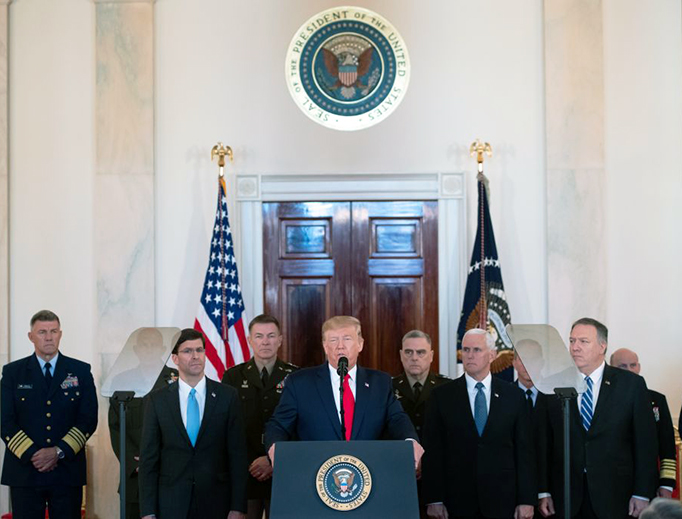 President Donald Trump speaks about the situation with Iran in the Grand Foyer of the White House in Washington, D.C., Jan. 8, 2020.