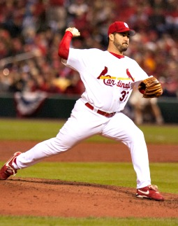 Jeff Suppan delivers a pitch in the 2006 World Series against the Detroit Tigers.