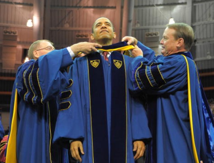 President Barack Obama receives an honorary doctor of laws degree May 17, 2009, during the commencement ceremony at the University of Notre Dame in South Bend, Indiana.