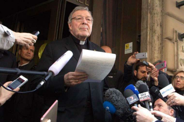 Cardinal George Pell outside Rome's Hotel Quirinale March 3, 2016.