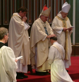 Bishop Richard Gagnon of Victoria ordains former Anglican-Catholic Metropolitan Archbishop of Canada Peter Wilkinson into Catholic priesthood.