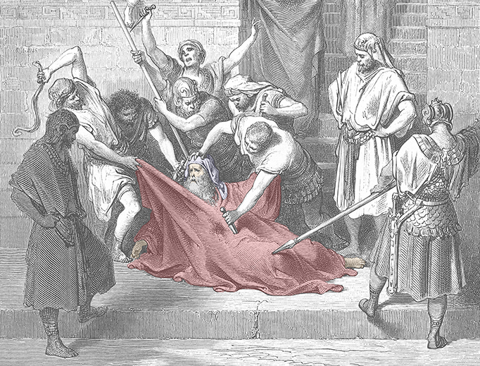"""Gustave Doré, """"The Martyrdom of Eleazar the Scribe,"""" 1866. Colorized by Register staff."""