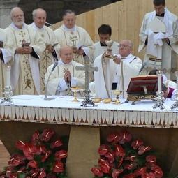Pope Francis celebrates Mass in the Piazza San Francesco in Assisi Oct. 4, 2013.