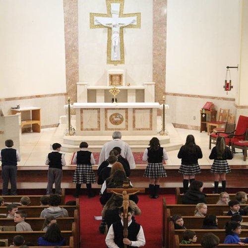 Students at St. Aloysius School pray a living Rosary during Catholic Schools Week in Pottstown, Pa.
