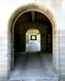 Cloister walk at New Clairvaux Abbey in Vina, Calif.