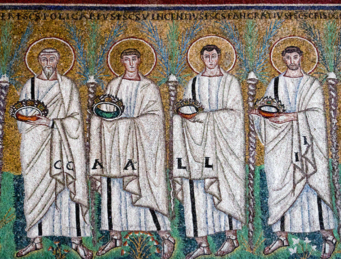 Polycarp, Vincent of Saragossa, Pancras of Rome, and Saint Chrysogonus at Sant'Apollinare Nuovo in Ravenna.