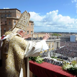 Pope Benedict XVI delivers his message and blessing 'urbi et orbi' from the loggia of St. Peter's Basilica at the end of the Easter Mass April 8.