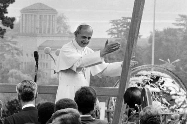 Pope Paul VI signed the encyclical Humanae Vitae on July 25, 1968.  Pictured, the pope visited the United Nations in Geneva the following year.