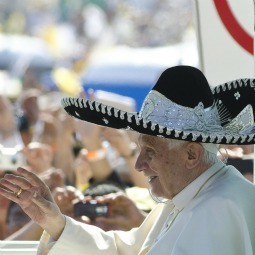 Pope Benedict XVI was offered a traditional sombrero as he arrived to celebrate Mass Sunday in Guanajuato.