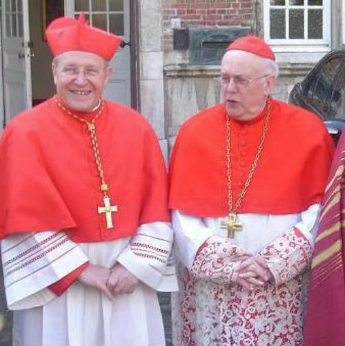 Belgian Cardinal Godfried Danneels (r) with German Cardinal Walter Kasper in 2008.