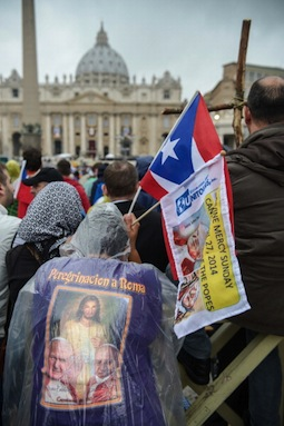 Pilgrims attend the April 27 canonizations of Popes John Paul II and John XXIII in St. Peter's Square.