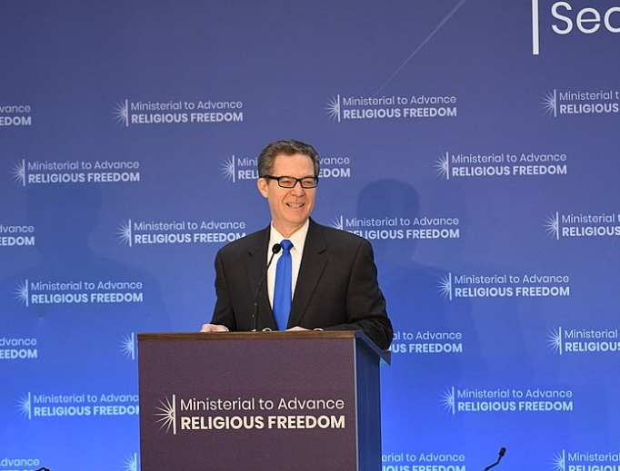 US Ambassador at large for International Religious Freedom Sam Brownback delivers remarks at the Ministerial to Advance Religious Freedom at the U.S. Department of State in Washington, D.C., July 24, 2018.