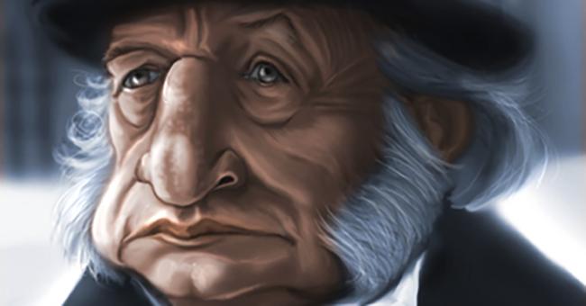 George C. Scott as Scrooge by Robert Doucette