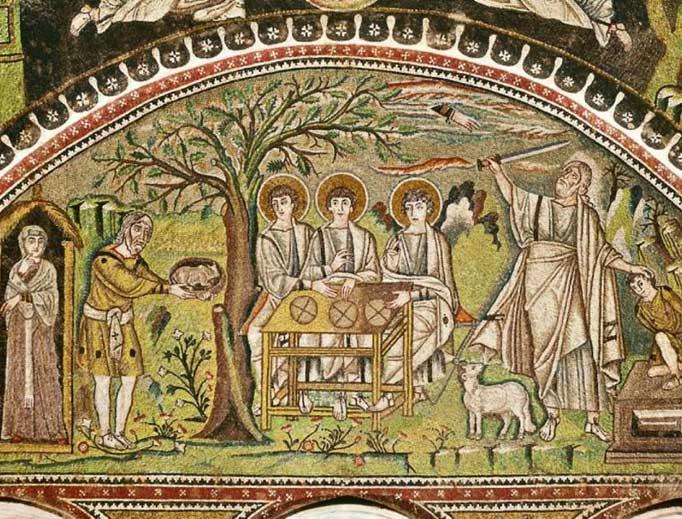 The Hospitality of Abraham (Holy Trinity) (Basilica di San Vitale, Ravenna, Italy). 6th century.