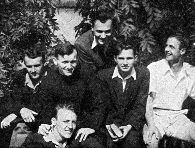 In this photo taken sometime between 1949 and 1951, a group of Polish laymen relaxes with their priest, Fr. Karol Wojtyla.