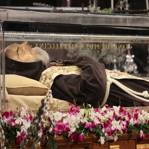 The arrival of the relics of St. Pio of Pietrelcina at the Basilica of San Lorenzo Outside the Walls in Rome on Feb. 3.