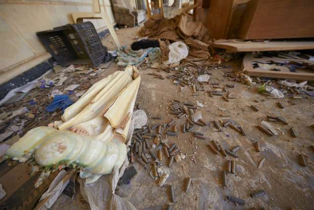 A survey of damage as seen in November 2016 at the Church of the Immaculate Conception in Bakhdida, Iraq, which was occupied by the Islamic State October 2014-October 2016.