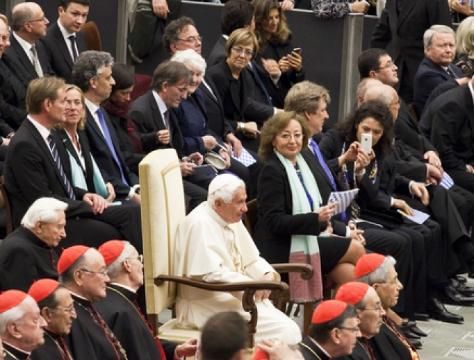 Pope Benedict XVI listens to classical music during a concert at the Vatican on February 20, 2012.