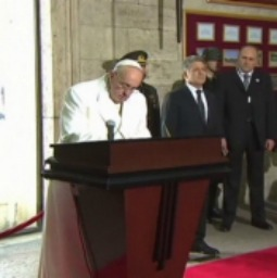 Pope Francis delivers remarks following his arrival Nov. 28 in Ankara, Turkey.