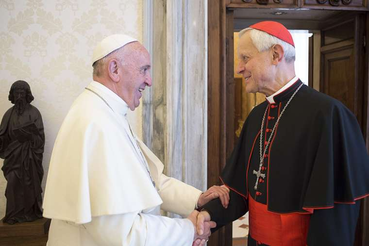 Pope Francis greets Cardinal Donald Wuerl, Oct. 27, 2017.