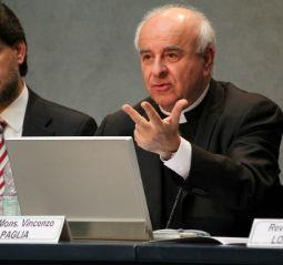 Archbishiop Vencenzo Paglia presents the International Family Center in Nazareth on April 16.