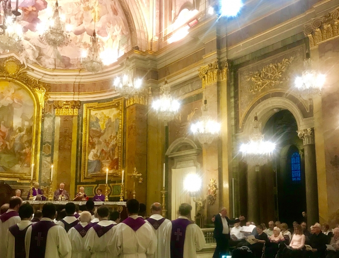 The 'Rainbow Choir' sings at the Basilica of Sts. John and Paul on the Caelian Hill April 4.