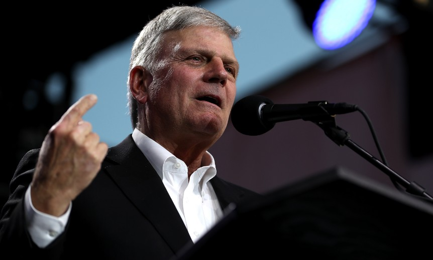 Franklin Graham speaks during Franklin Graham's 'Decision America' California tour at the Stanislaus County Fairgrounds in Turlock, California.
