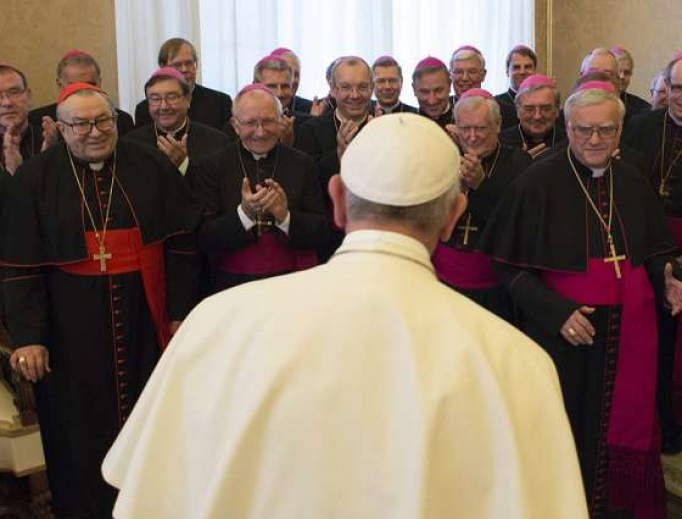 Pope Francis meets with the bishops of Germany during their ad limina visit to the Vatican, Nov. 20, 2015.