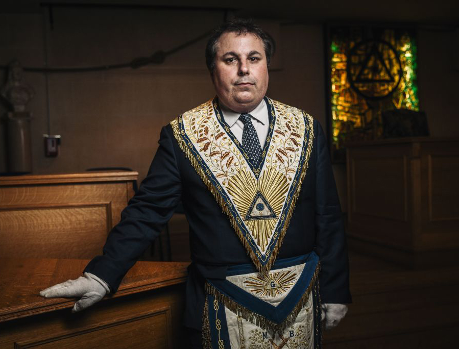 French Masonic leader Edouard Habrant poses for a portrait inside a Masonic temple in Suresnes, France, on May 27, 2019.