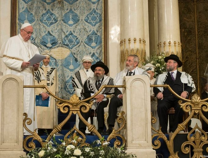 Pope Francis, shown speaking to Jewish leaders at Rome's Major Synagogue on Jan. 17, 2016, in Rome, has been an outspoken in condemning anti-Semitism.