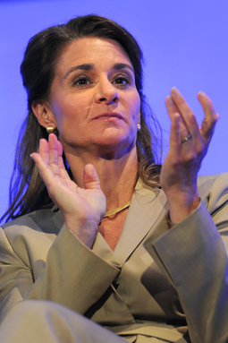 Melinda Gates applauds at the London Family Planning Summit recently.