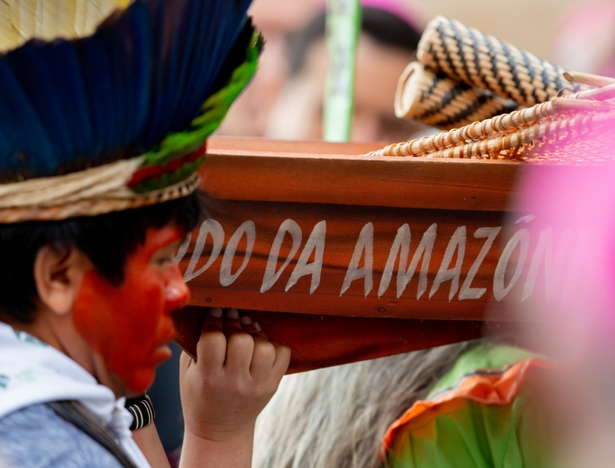 Amazonian people in native dress participated in the opening procession of the Synod of Bishops for the Pan-Amazon Region from St. Peter's Basilica to the Synod Hall Oct. 7.