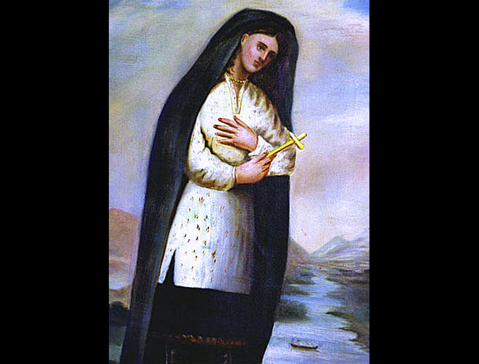 This portrait was painted around 1696 by Father Claude Chauchetière, who knew Kateri personally and wrote the first biography of the saint.